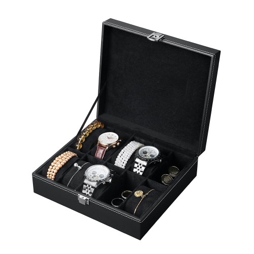 watch jewelry organizer & storage 10 slots display pu leather wooden box