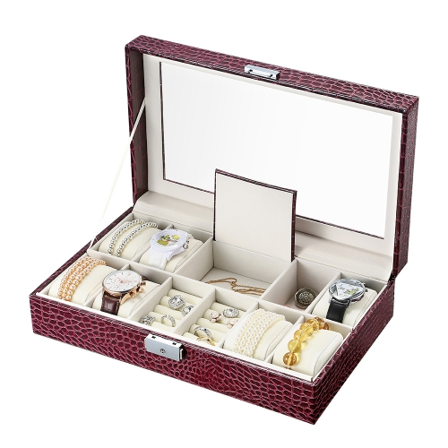 watch jewelry organizer & storage display pu leather wooden box