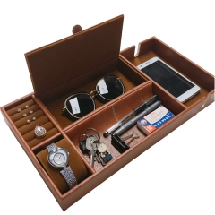 PU leather valet tray for storage jewelry watch mobile phone perfume nightstand organizer tray box
