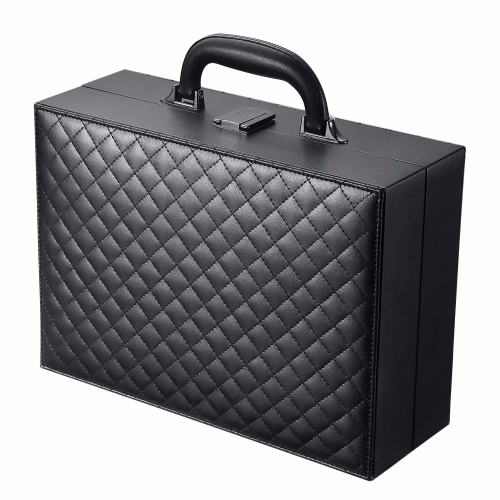 fashion faux leather jewelry cosmetic case suitcase style display box