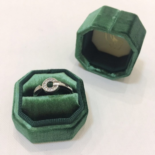 luxury velvet hexagon and octagon style ring packaging box with logo on inside