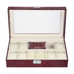 lock and keys box glass top lockable watch organizer jewelry display wooden case